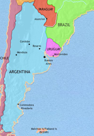 Map of Argentina, Paraguay and Uruguay at 1960CE