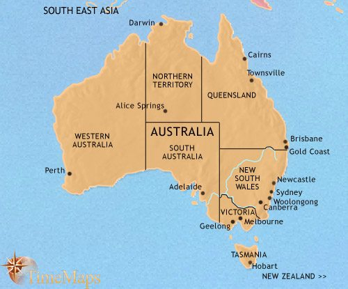 Map of Australia at 1960CE