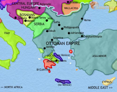 Ancient greece 500 bce map of greece and the balkans at 1453ce gumiabroncs Choice Image
