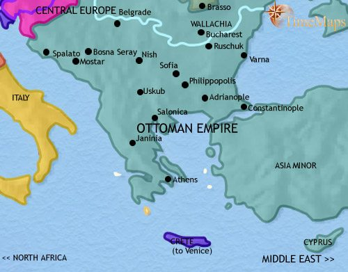 Map of Greece and the Balkans at 1648CE