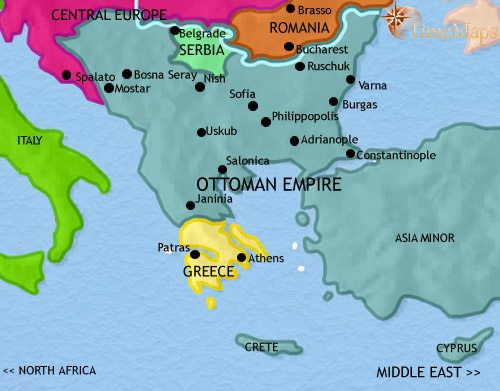 Map of Greece and the Balkans at 1871CE
