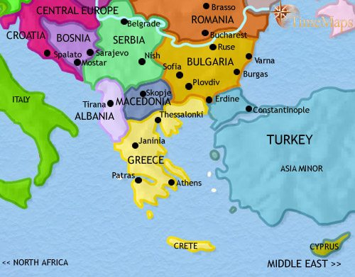 Map of Greece and the Balkans at 2005CE