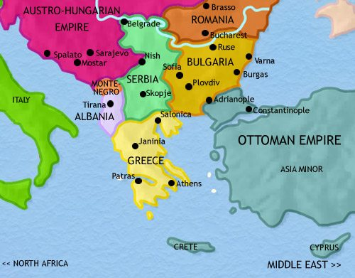 map of greece and the balkans at 1914ce