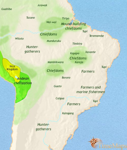 Map of Brazil at 1453CE