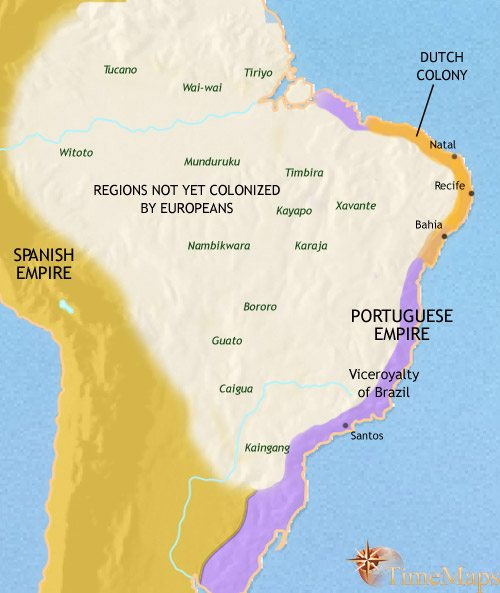 Map of Brazil at 1648CE
