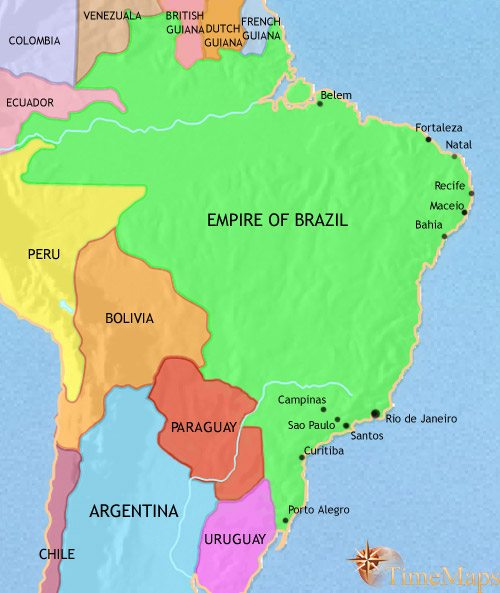 Map of Brazil at 1837CE
