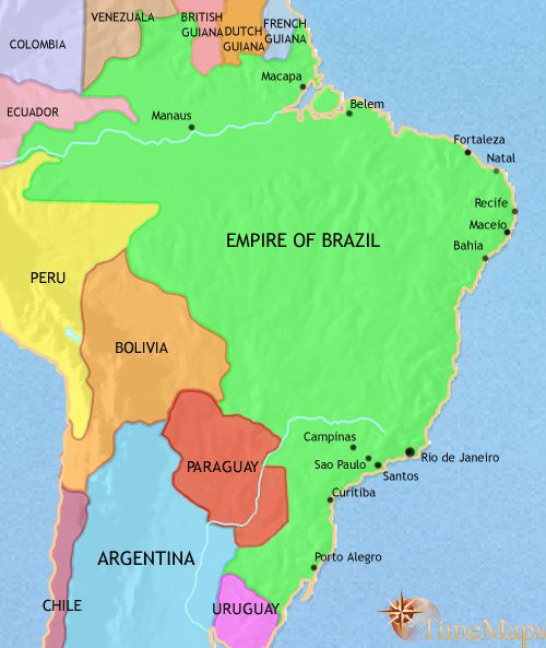 Map of Brazil at 1871CE