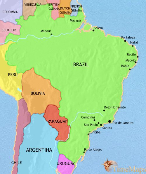 Map of Brazil at 1914CE