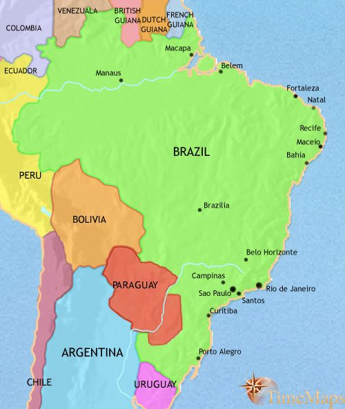 Map of Brazil at 1960CE