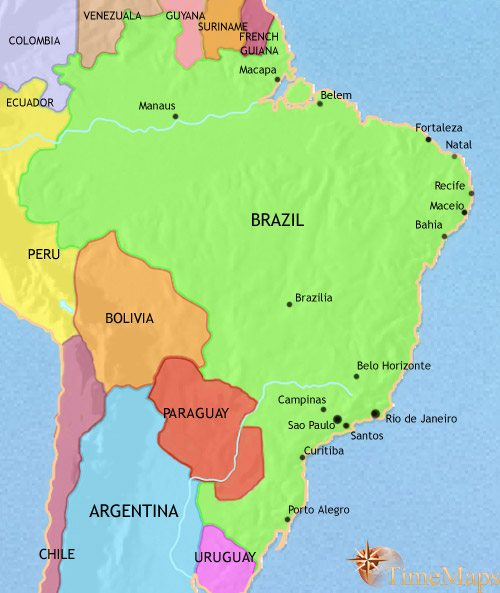 Map of Brazil at 2005CE