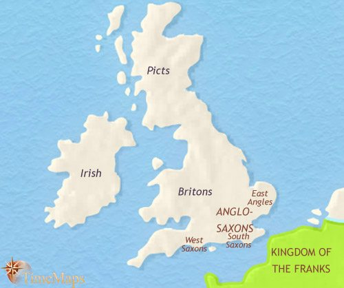 Map of Britain at 500CE