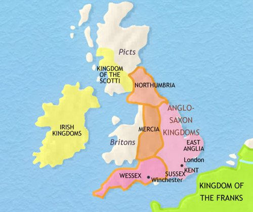 Map of Britain at 750CE