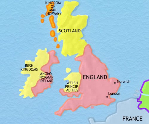 World Map Of England.Britain History 750 Ce
