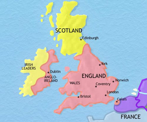 Map of Britain at 1453CE