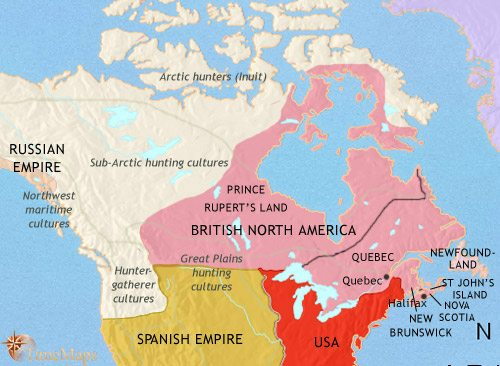 Map of Canada at 1789CE
