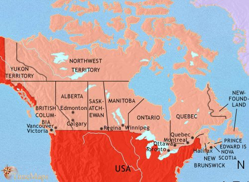 Map Of Canada Quebec Montreal.Map Of Canada At 1960ad Timemaps
