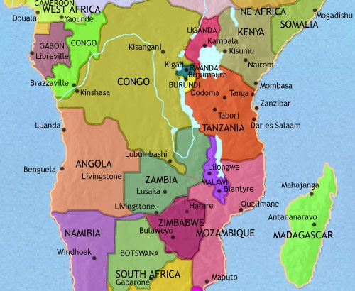 Map of Central Africa at 2005CE