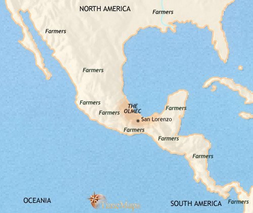 Map of Mexico and Central America at 1000BCE