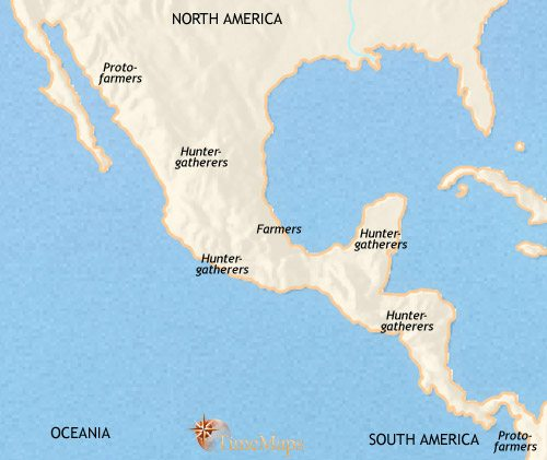 Map of Mexico and Central America at 2500BCE