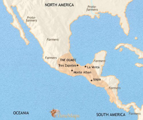 Map of Mexico and Central America at 500BCE