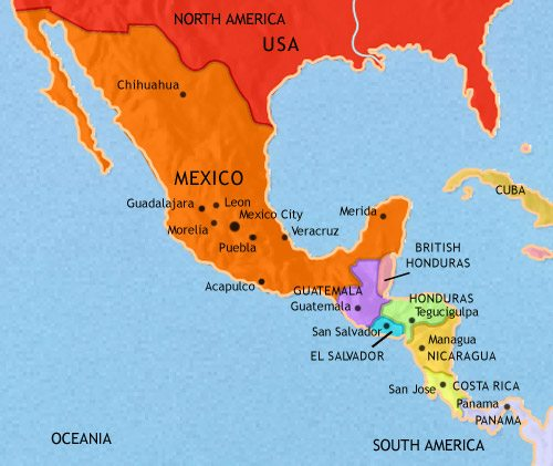 Map of Mexico and Central America at 1871CE