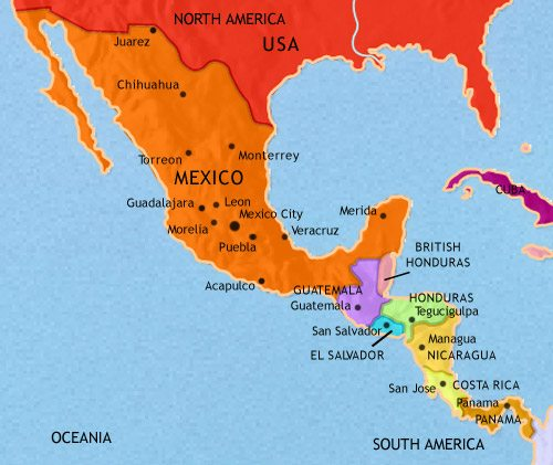 Map of Mexico and Central America at 1960CE