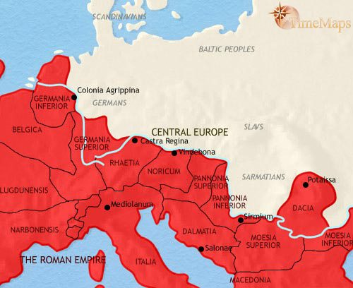 Map of Central Europe at 200CE
