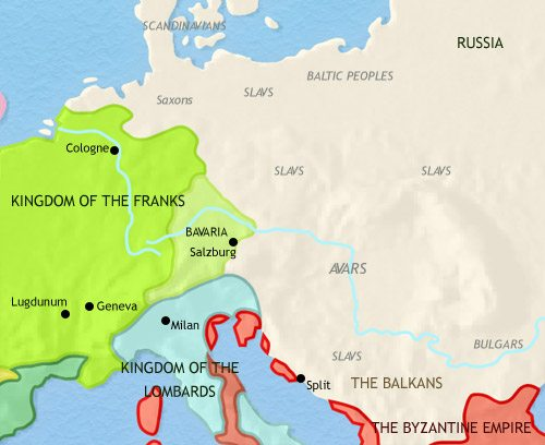 Map of Central Europe at 750CE