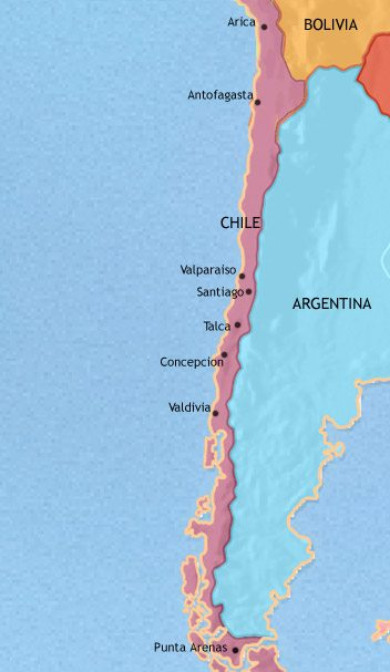 Map of Chile at 1960AD TimeMaps