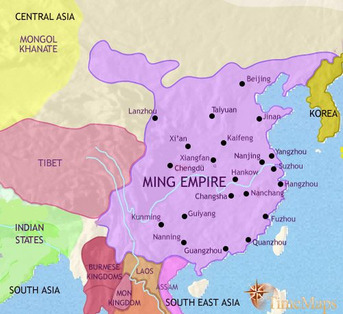 China On Map Of Asia.Map Of China At 1453ad Timemaps