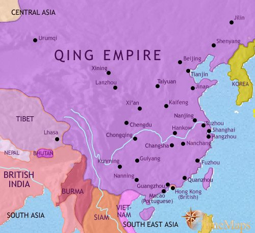 Map of China at 1871CE