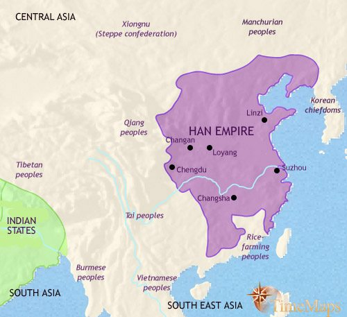 Map of China at 200BC | TimeMaps Qin Dynasty Map on