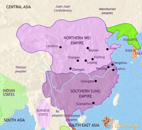 Map of China at 500CE