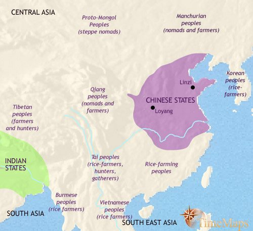 Map of China at 500BCE
