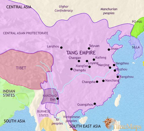 Map of China at 750CE