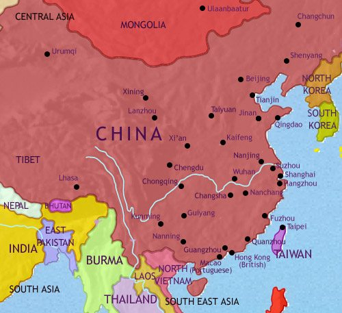 Map of China at 1960CE