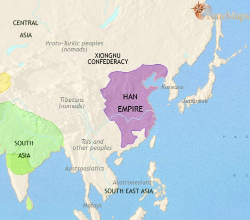 map of the Han Dynasty of Ancient China