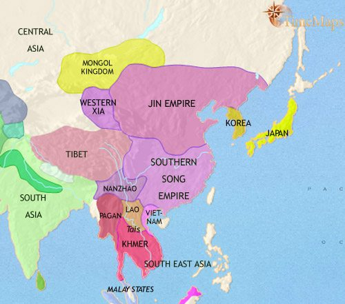 Map of East Asia: China, Korea, Japan at 1215CE