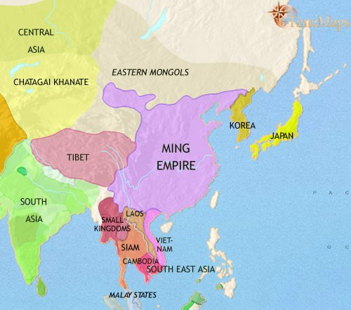 Map of East Asia: China, Korea, Japan at 1453CE