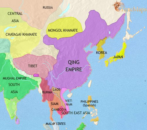 Map of East Asia: China, Korea, Japan at 1648CE