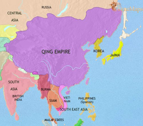 Map of East Asia: China, Korea, Japan at 1837CE
