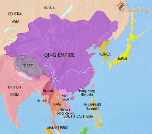 Map of East Asia: China, Korea, Japan at 1871CE