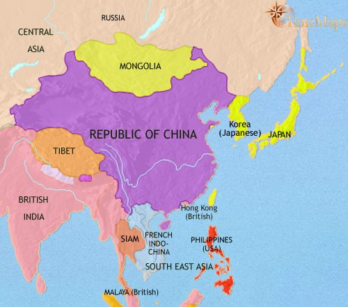 Map of East Asia: China, Korea, Japan at 1914CE