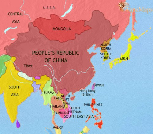 map of east asia china korea japan at 1960ce