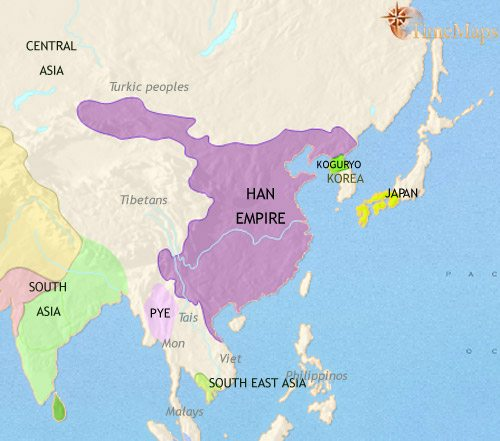 map of east asia china korea japan at 200ce