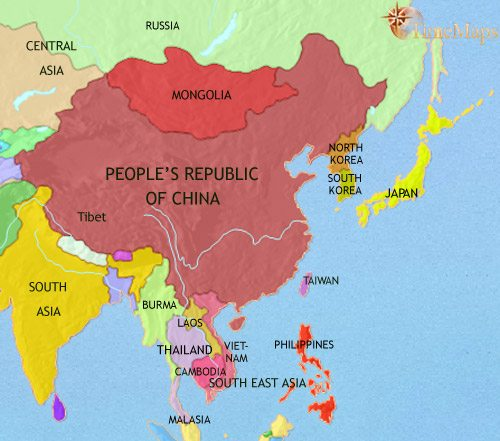 map of east asia china korea japan at 2005ce