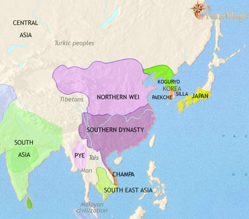 Map of East Asia: China, Korea, Japan at 500CE