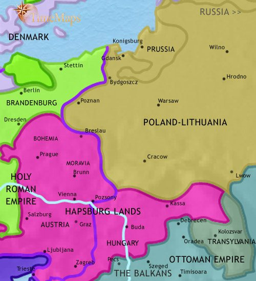 Map Of East Central Europe At 1648ad Timemaps