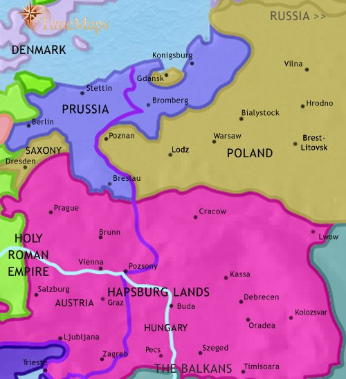 Map of East Central Europe at 1789CE