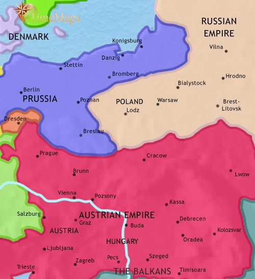 Map of East Central Europe at 1837CE